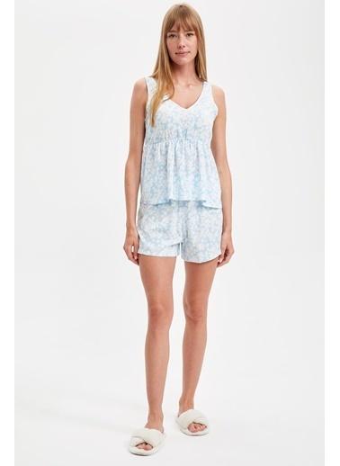 Defacto –Fit Volanlı Pijama Takımı Mavi